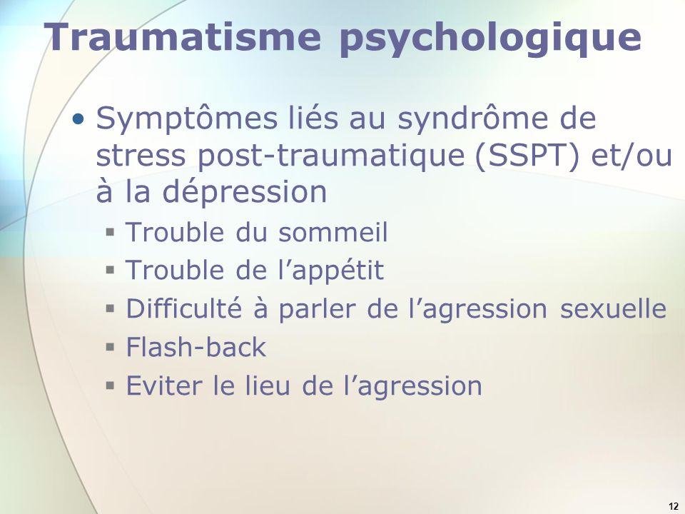 12 Traumatisme psychologique Symptômes liés au syndrôme de stress post-traumatique (SSPT) et/ou à la dépression Trouble du sommeil Trouble de lappétit