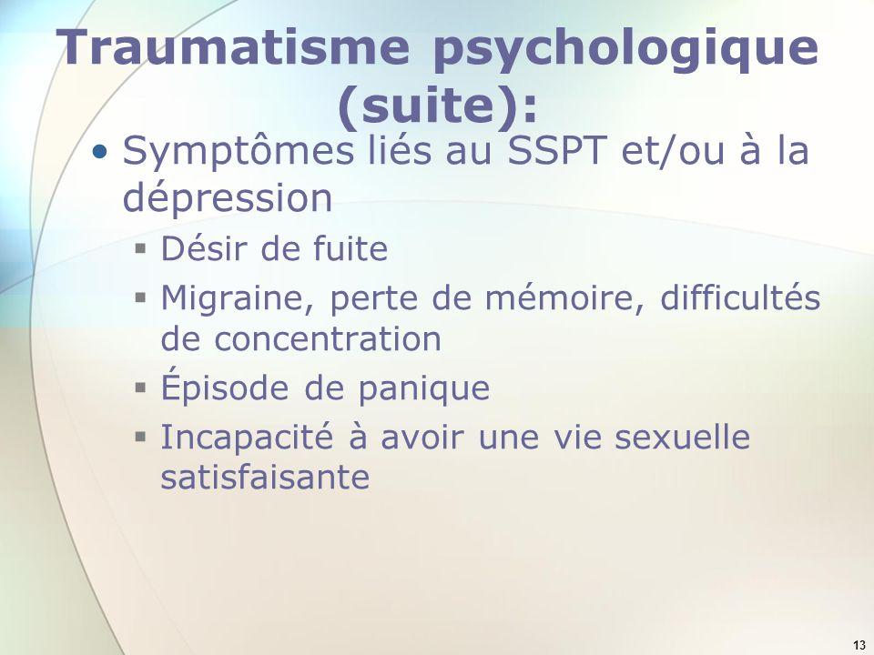 13 Traumatisme psychologique (suite): Symptômes liés au SSPT et/ou à la dépression Désir de fuite Migraine, perte de mémoire, difficultés de concentra