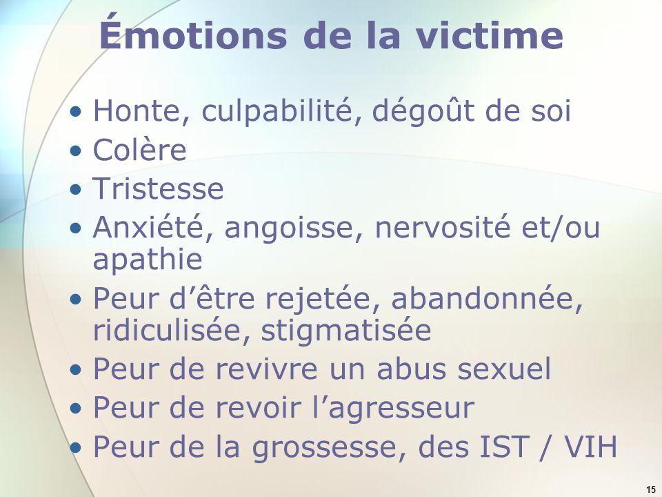 15 Émotions de la victime Honte, culpabilité, dégoût de soi Colère Tristesse Anxiété, angoisse, nervosité et/ou apathie Peur dêtre rejetée, abandonnée