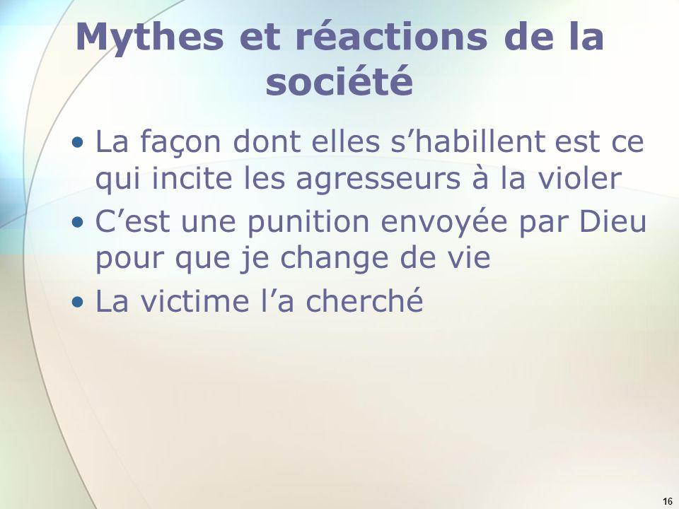 16 Mythes et réactions de la société La façon dont elles shabillent est ce qui incite les agresseurs à la violer Cest une punition envoyée par Dieu po