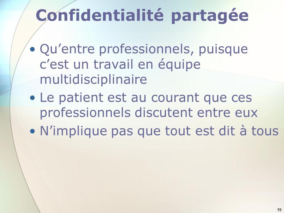 19 Confidentialité partagée Quentre professionnels, puisque cest un travail en équipe multidisciplinaire Le patient est au courant que ces professionn