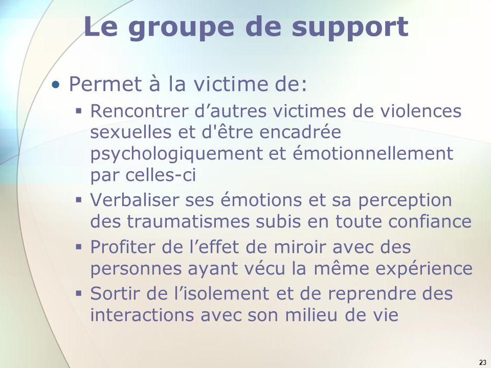 23 Le groupe de support Permet à la victime de: Rencontrer dautres victimes de violences sexuelles et d'être encadrée psychologiquement et émotionnell