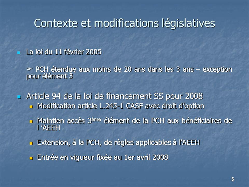 3 Contexte et modifications législatives La loi du 11 février 2005 La loi du 11 février 2005 PCH étendue aux moins de 20 ans dans les 3 ans – exceptio