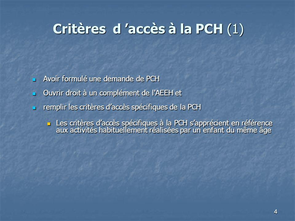 4 Avoir formulé une demande de PCH Avoir formulé une demande de PCH Ouvrir droit à un complément de l'AEEH et Ouvrir droit à un complément de l'AEEH e