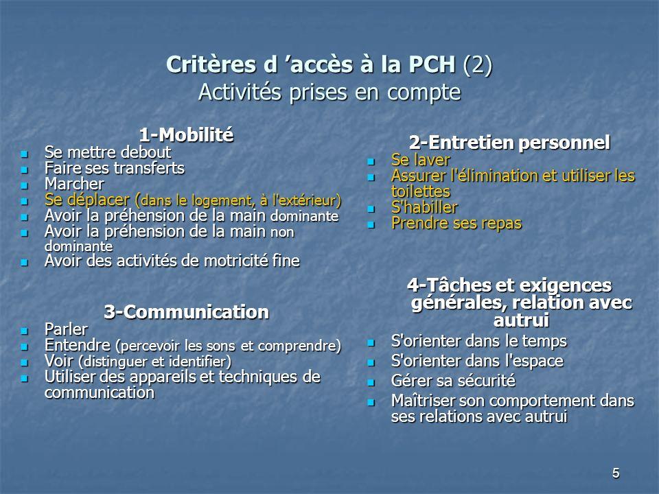 5 Critères d accès à la PCH (2) Activités prises en compte 1-Mobilité Se mettre debout Se mettre debout Faire ses transferts Faire ses transferts Marc