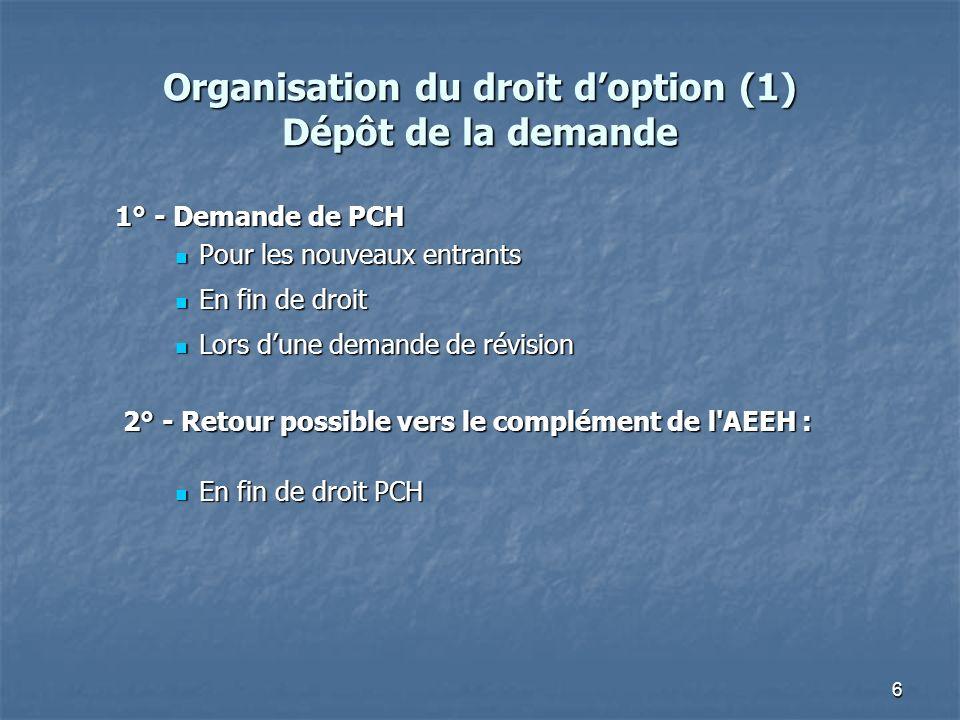 6 Organisation du droit doption (1) Dépôt de la demande 1° - Demande de PCH Pour les nouveaux entrants Pour les nouveaux entrants En fin de droit En f