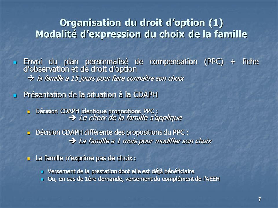 7 Organisation du droit doption (1) Modalité dexpression du choix de la famille Envoi du plan personnalisé de compensation (PPC) + fiche dobservation