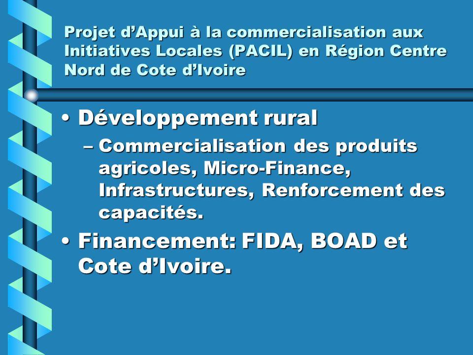 Projet dAppui à la commercialisation aux Initiatives Locales (PACIL) en Région Centre Nord de Cote dIvoire Développement ruralDéveloppement rural –Com
