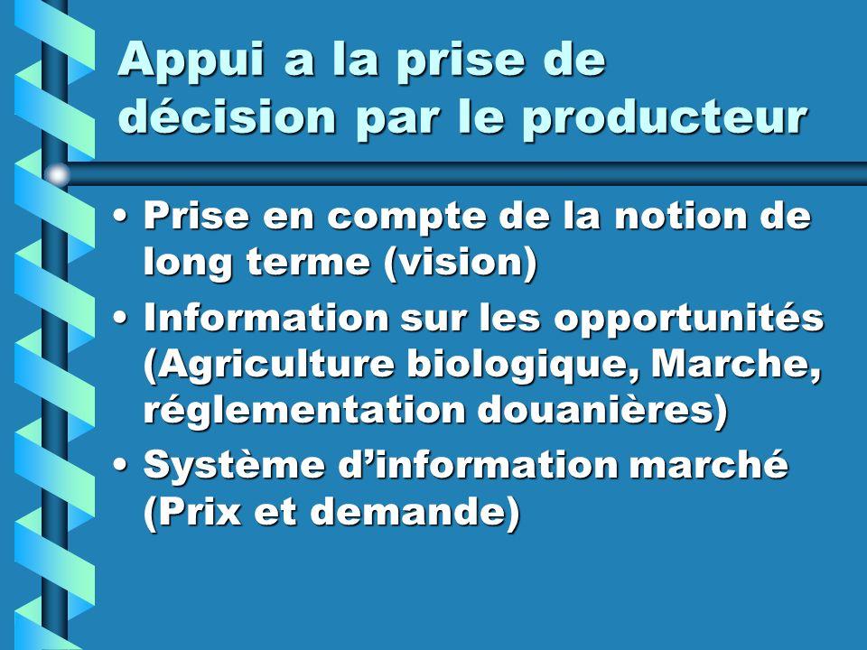 Appui a la prise de décision par le producteur Prise en compte de la notion de long terme (vision)Prise en compte de la notion de long terme (vision)