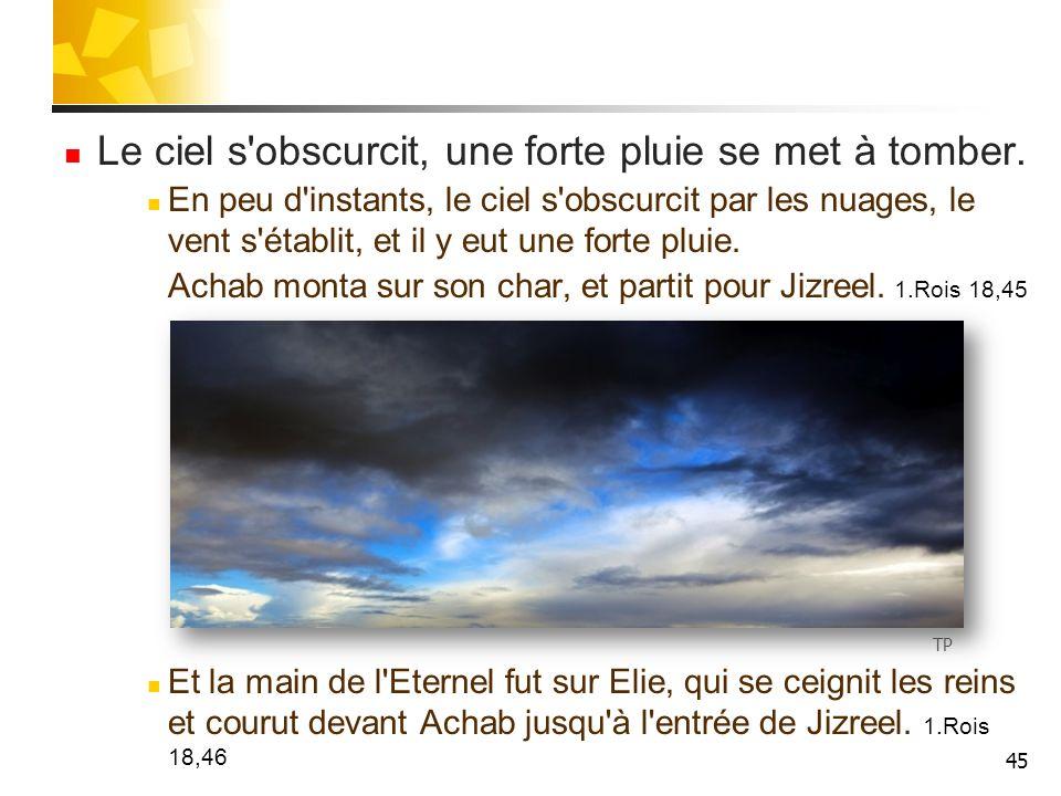 46 Elie fuit Jézabel Elie fait ainsi une course de 27 km jusqu au palais d été d Achab à Jizreel.