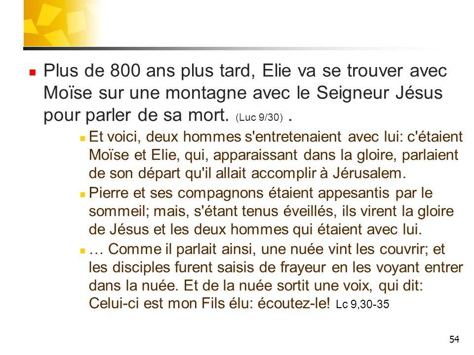 55 L Eternel s adresse à Elie: Que fais-tu ici, Elie.