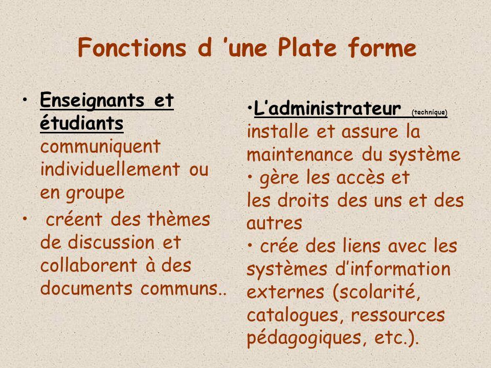 Fonctions d une Plate forme Enseignants et étudiants communiquent individuellement ou en groupe créent des thèmes de discussion et collaborent à des documents communs..