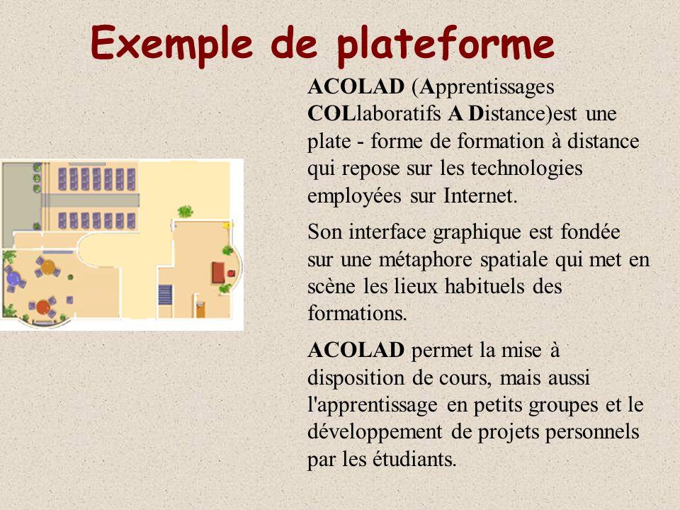 Exemple de plateforme ACOLAD (Apprentissages COLlaboratifs A Distance)est une plate - forme de formation à distance qui repose sur les technologies employées sur Internet.