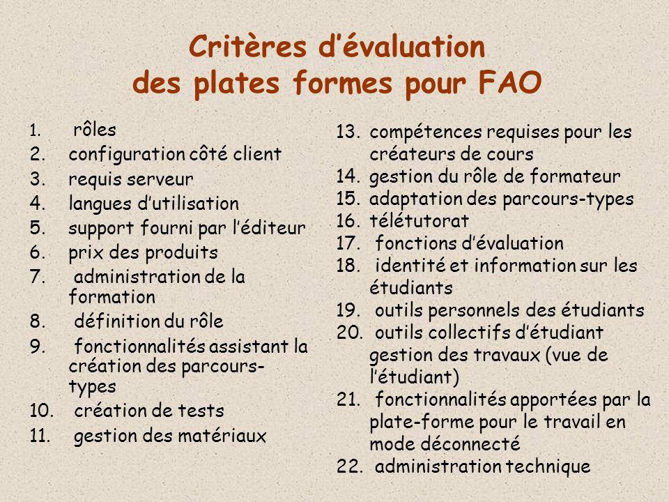 Critères dévaluation des plates formes pour FAO 1.