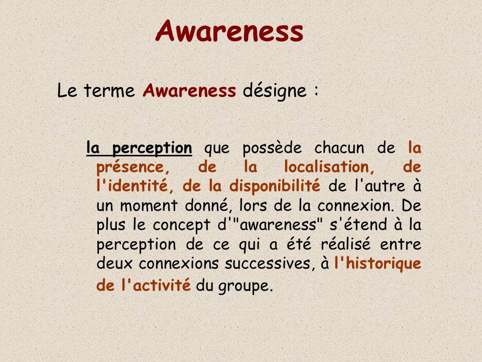 Awareness Le terme Awareness désigne : la perception que possède chacun de la présence, de la localisation, de l identité, de la disponibilité de l autre à un moment donné, lors de la connexion.