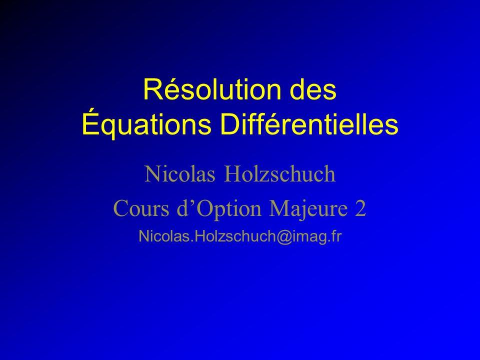 Résolution des Équations Différentielles Nicolas Holzschuch Cours dOption Majeure 2 Nicolas.Holzschuch@imag.fr
