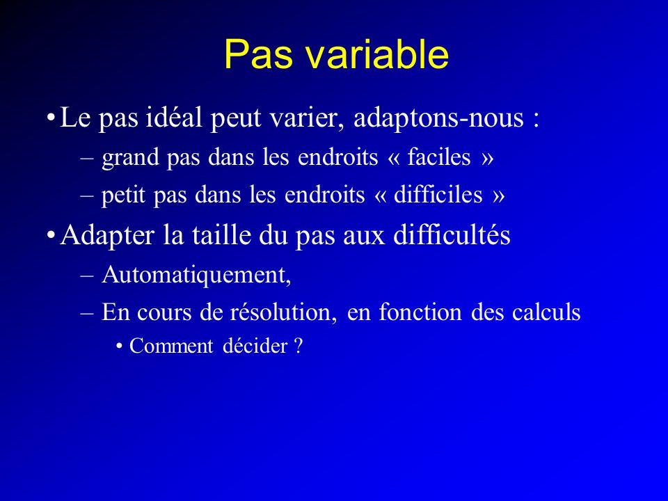 Pas variable Le pas idéal peut varier, adaptons-nous : –grand pas dans les endroits « faciles » –petit pas dans les endroits « difficiles » Adapter la taille du pas aux difficultés –Automatiquement, –En cours de résolution, en fonction des calculs Comment décider ?