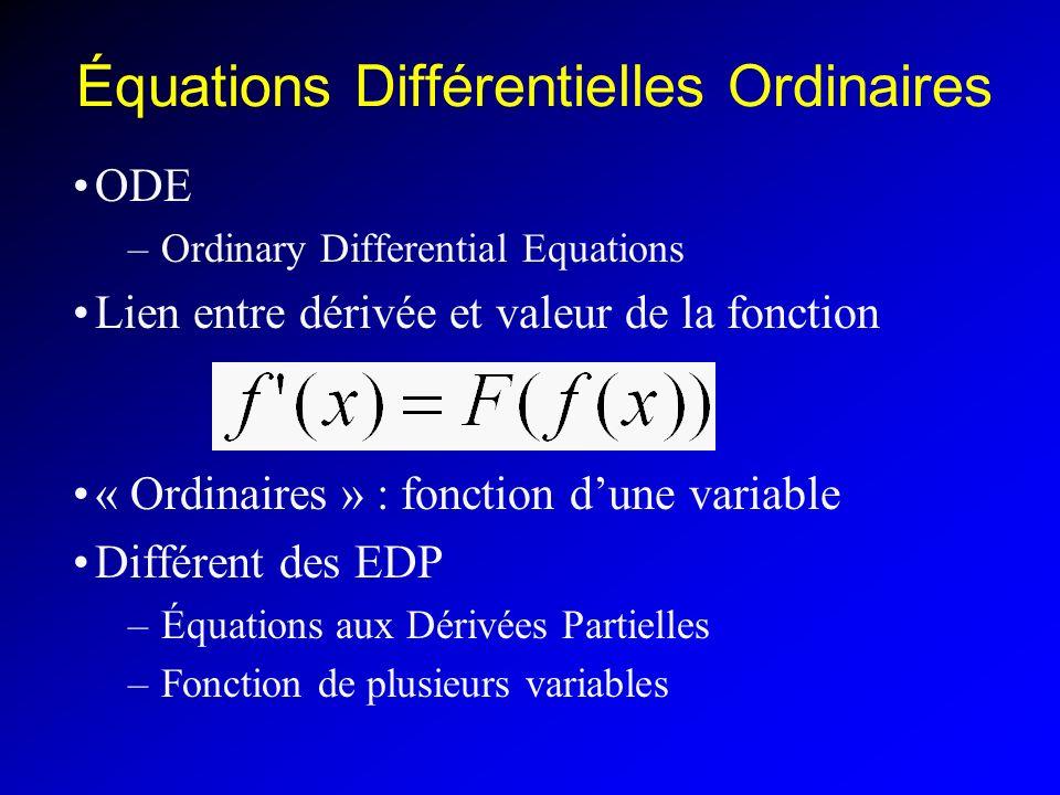 Équations Différentielles Ordinaires ODE –Ordinary Differential Equations Lien entre dérivée et valeur de la fonction « Ordinaires » : fonction dune variable Différent des EDP –Équations aux Dérivées Partielles –Fonction de plusieurs variables