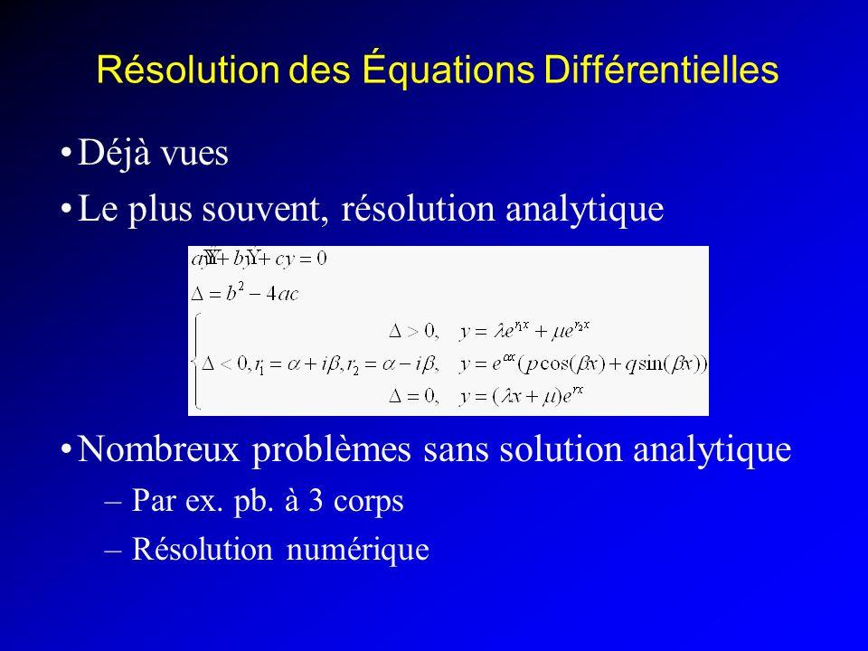 Résolution des Équations Différentielles Déjà vues Le plus souvent, résolution analytique Nombreux problèmes sans solution analytique –Par ex.