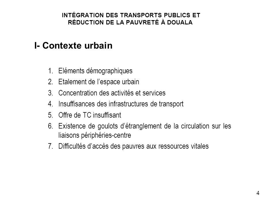 INTÉGRATION DES TRANSPORTS PUBLICS ET RÉDUCTION DE LA PAUVRETÉ À DOUALA I- Contexte urbain 1.Eléments démographiques 2.Etalement de lespace urbain 3.C