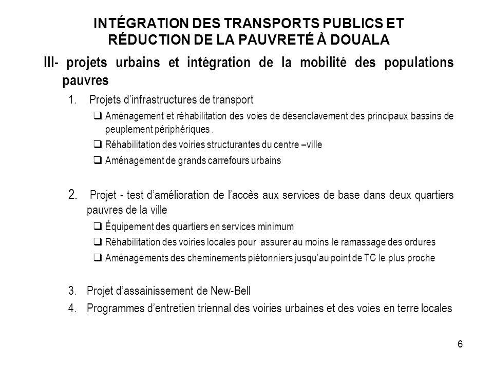 III- projets urbains et intégration de la mobilité des populations pauvres 1. Projets dinfrastructures de transport Aménagement et réhabilitation des