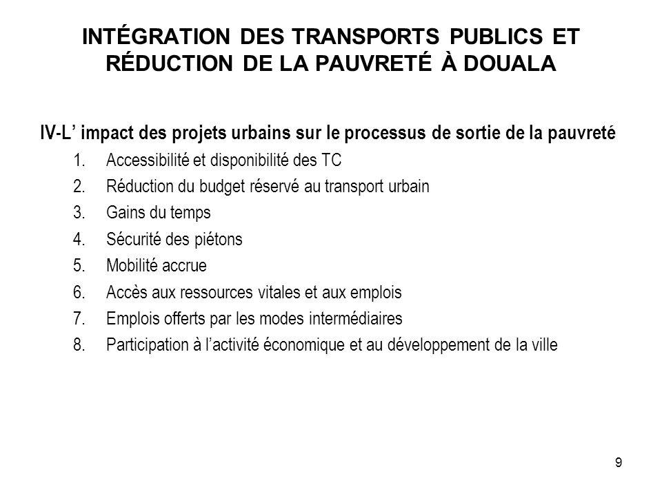 INTÉGRATION DES TRANSPORTS PUBLICS ET RÉDUCTION DE LA PAUVRETÉ À DOUALA IV-L impact des projets urbains sur le processus de sortie de la pauvreté 1.Ac