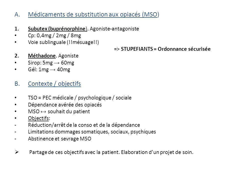 C.Règles de prescription 1.Evaluation de la dépendance: Aide au sevrage simple, Subutex ou Méthadone.