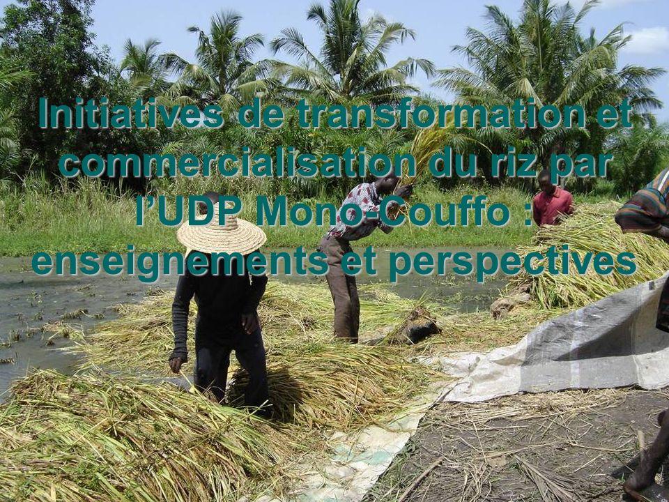 26/05/05 Journée du riz à Lokossa Comité riz UDP Mono Couffo Initiatives de transformation et commercialisation du riz par lUDP Mono-Couffo : enseigne