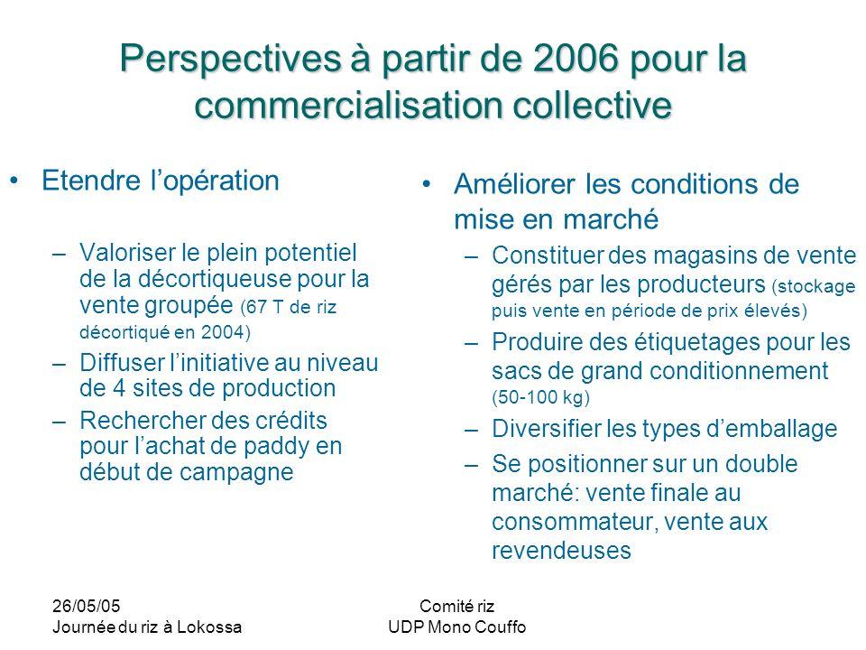 26/05/05 Journée du riz à Lokossa Comité riz UDP Mono Couffo Perspectives à partir de 2006 pour la commercialisation collective Etendre lopération –Va