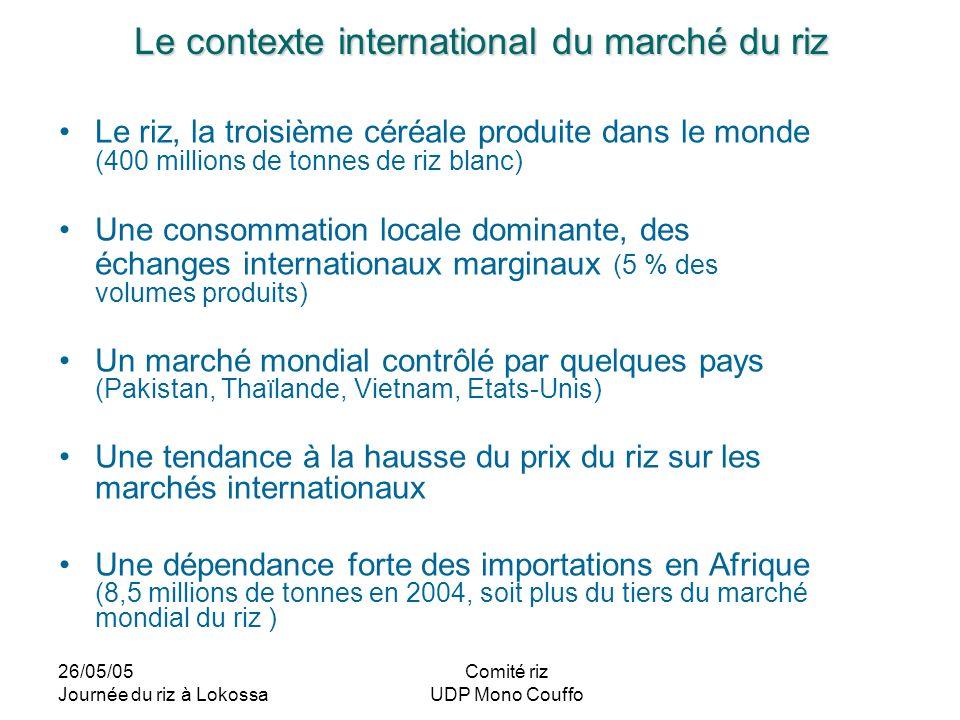 26/05/05 Journée du riz à Lokossa Comité riz UDP Mono Couffo Le contexte international du marché du riz Le riz, la troisième céréale produite dans le