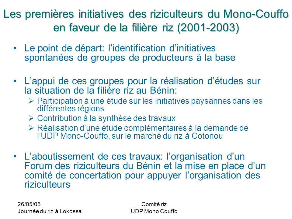 26/05/05 Journée du riz à Lokossa Comité riz UDP Mono Couffo Les premières initiatives des riziculteurs du Mono-Couffo en faveur de la filière riz (20