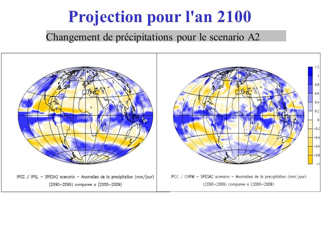 Projection pour l an 2100 Changement de précipitations pour le scenario A2