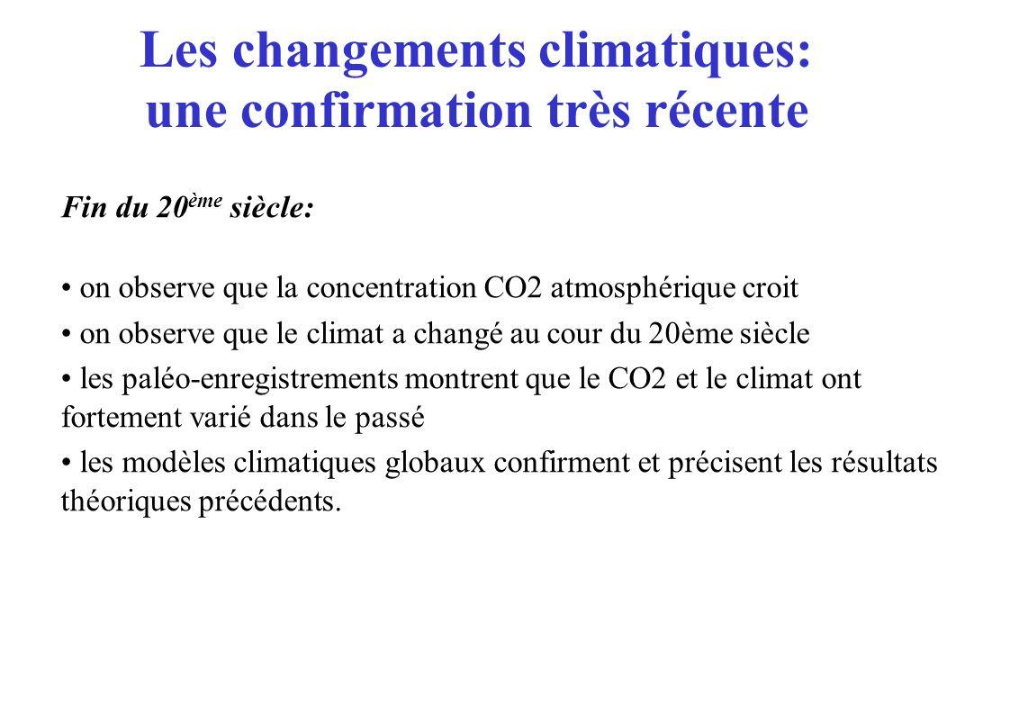 Les changements anthropiques: une observation récente Année Concentration en CO2 (ppmv) Source: GIEC 2001