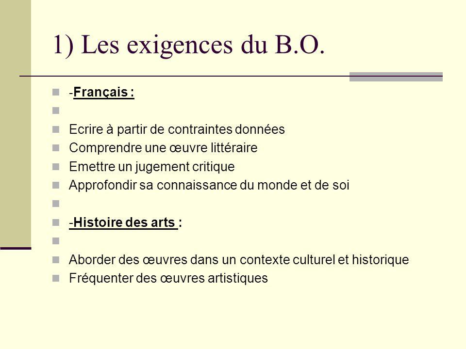 1) Les exigences du B.O. - Français : Ecrire à partir de contraintes données Comprendre une œuvre littéraire Emettre un jugement critique Approfondir