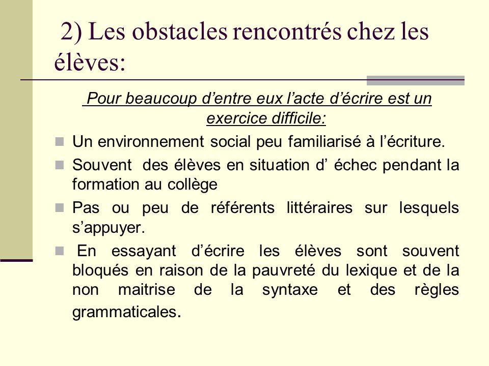 2) Les obstacles rencontrés chez les élèves: Pour beaucoup dentre eux lacte décrire est un exercice difficile: Un environnement social peu familiarisé