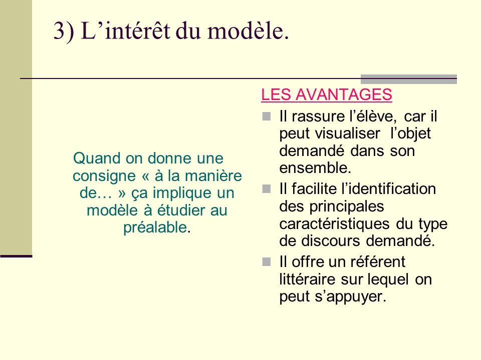 3) Lintérêt du modèle. Quand on donne une consigne « à la manière de… » ça implique un modèle à étudier au préalable. LES AVANTAGES Il rassure lélève,