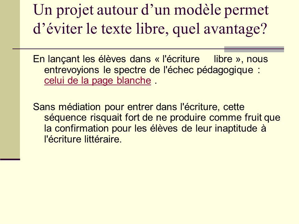 Un projet autour dun modèle permet déviter le texte libre, quel avantage? En lançant les élèves dans « l'écriture libre », nous entrevoyions le spectr