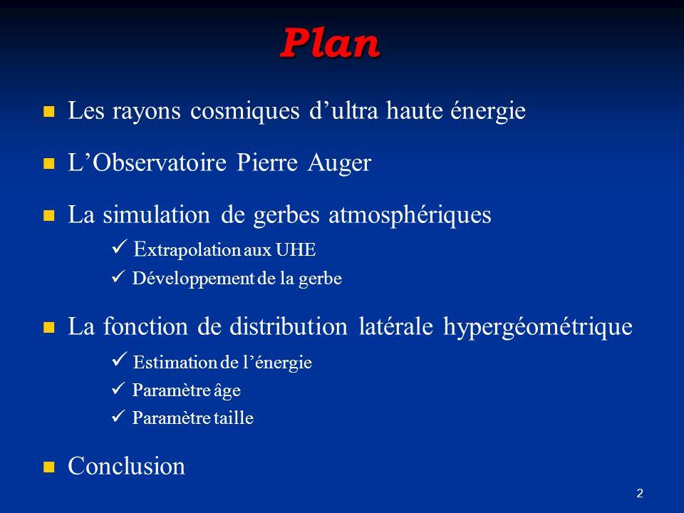 2 Plan Les rayons cosmiques dultra haute énergie LObservatoire Pierre Auger La simulation de gerbes atmosphériques E xtrapolation aux UHE Développemen