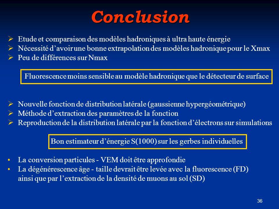 36Conclusion Etude et comparaison des modèles hadroniques à ultra haute énergie Nécessité davoir une bonne extrapolation des modèles hadronique pour l
