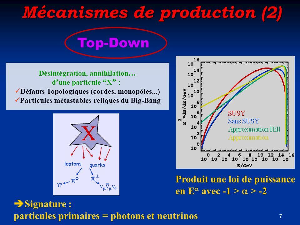 7 Mécanismes de production (2) Top-Down Désintégration, annihilation … d une particule X : Défauts Topologiques (cordes, monopôles...) Particules méta