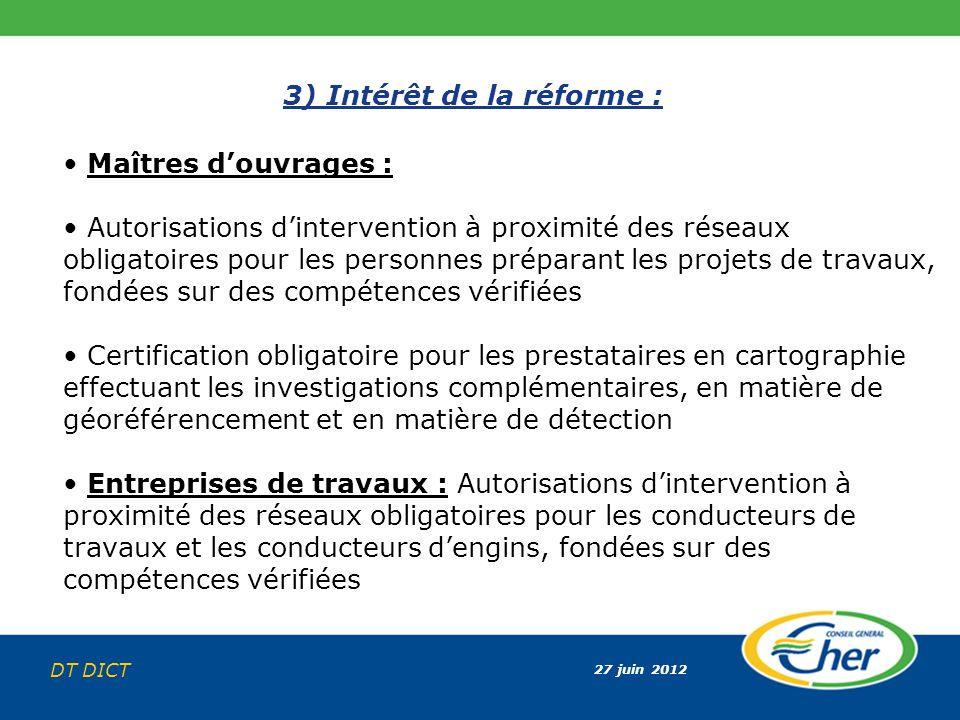 27 juin 2012 DT DICT 3) Intérêt de la réforme : Maîtres douvrages : Autorisations dintervention à proximité des réseaux obligatoires pour les personne
