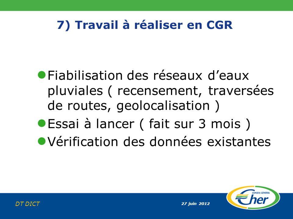 27 juin 2012 DT DICT 7) Travail à réaliser en CGR Fiabilisation des réseaux deaux pluviales ( recensement, traversées de routes, geolocalisation ) Ess