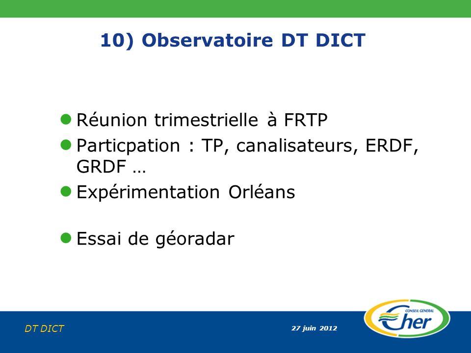 27 juin 2012 DT DICT 10) Observatoire DT DICT Réunion trimestrielle à FRTP Particpation : TP, canalisateurs, ERDF, GRDF … Expérimentation Orléans Essa