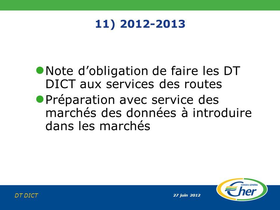 27 juin 2012 DT DICT 11) 2012-2013 Note dobligation de faire les DT DICT aux services des routes Préparation avec service des marchés des données à in