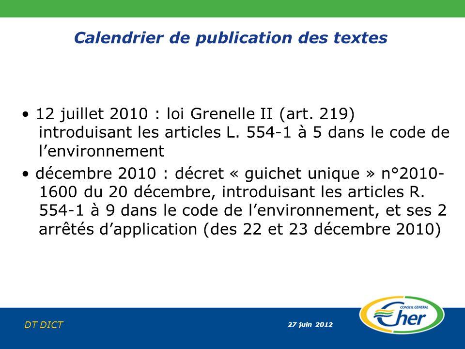 27 juin 2012 DT DICT Calendrier de publication des textes 12 juillet 2010 : loi Grenelle II (art. 219) introduisant les articles L. 554-1 à 5 dans le