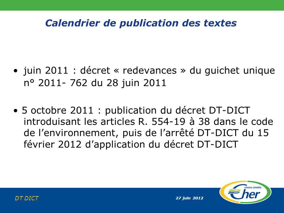 27 juin 2012 DT DICT Calendrier de publication des textes juin 2011 : décret « redevances » du guichet unique n° 2011- 762 du 28 juin 2011 5 octobre 2
