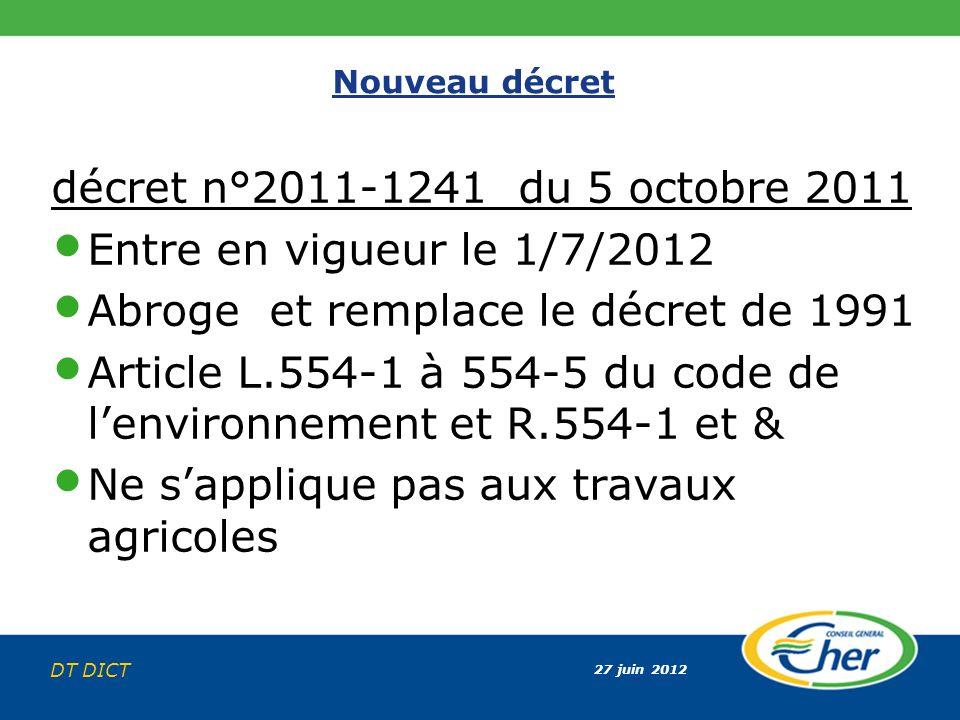 27 juin 2012 DT DICT Nouveau décret décret n°2011-1241 du 5 octobre 2011 Entre en vigueur le 1/7/2012 Abroge et remplace le décret de 1991 Article L.5
