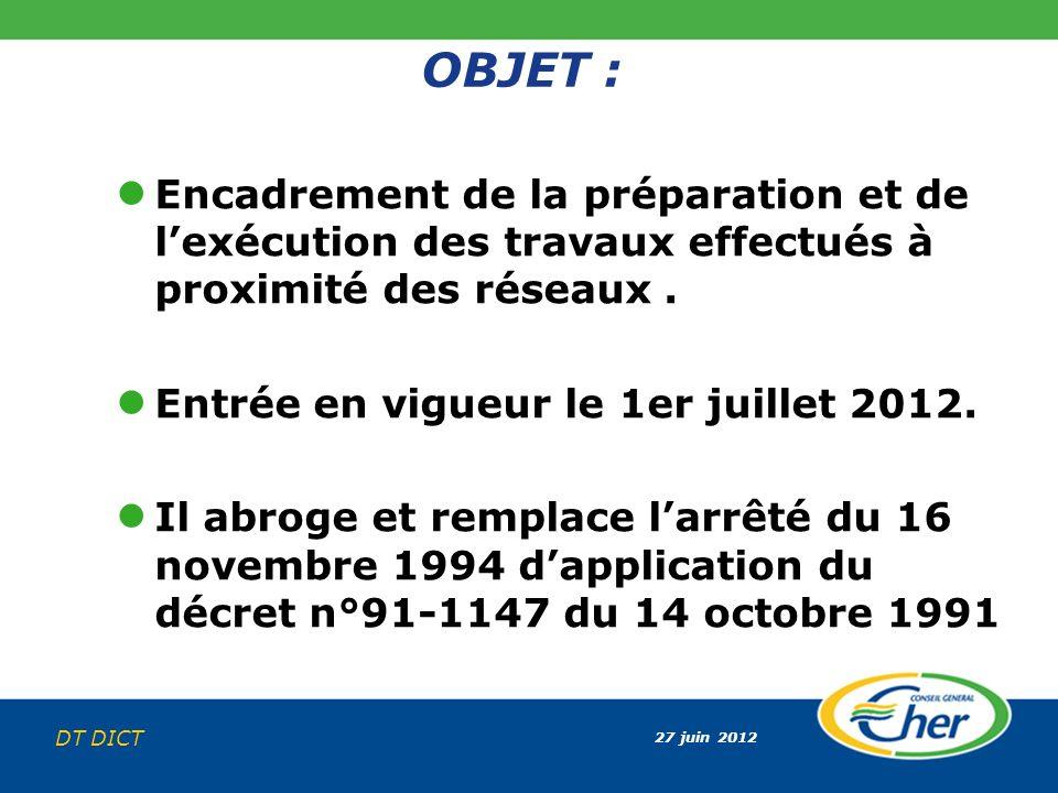 27 juin 2012 DT DICT OBJET : Encadrement de la préparation et de lexécution des travaux effectués à proximité des réseaux. Entrée en vigueur le 1er ju