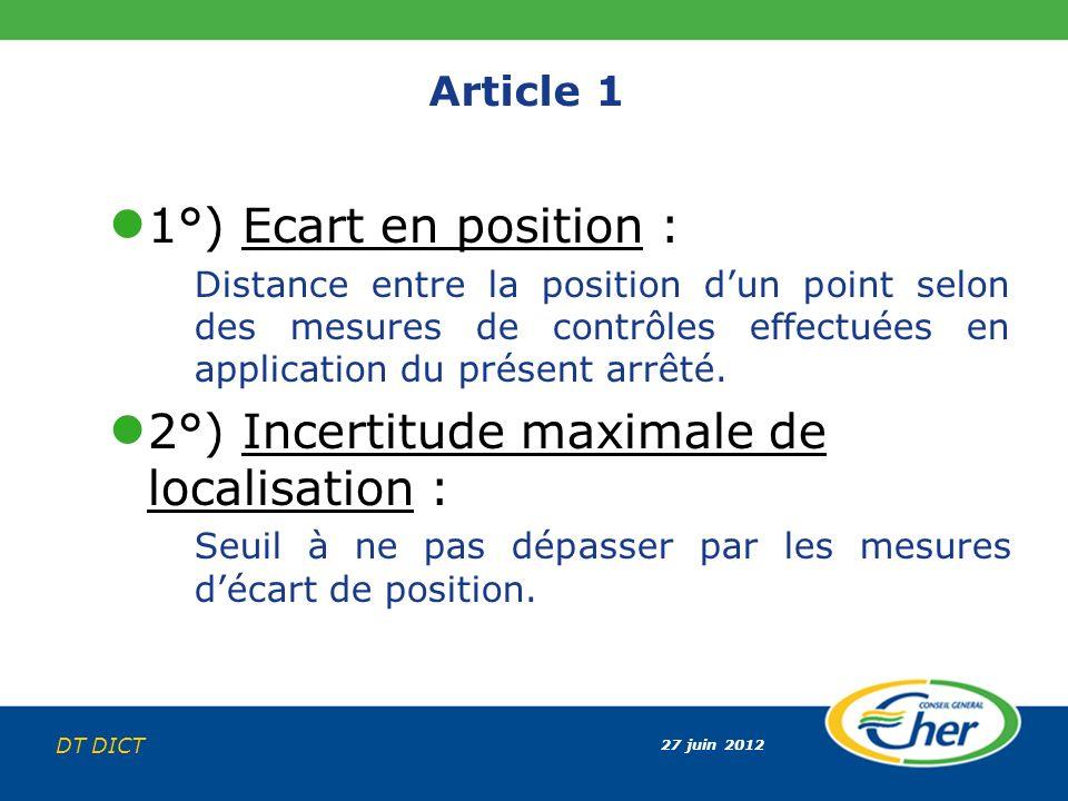 27 juin 2012 DT DICT Article 1 1°) Ecart en position : Distance entre la position dun point selon des mesures de contrôles effectuées en application d