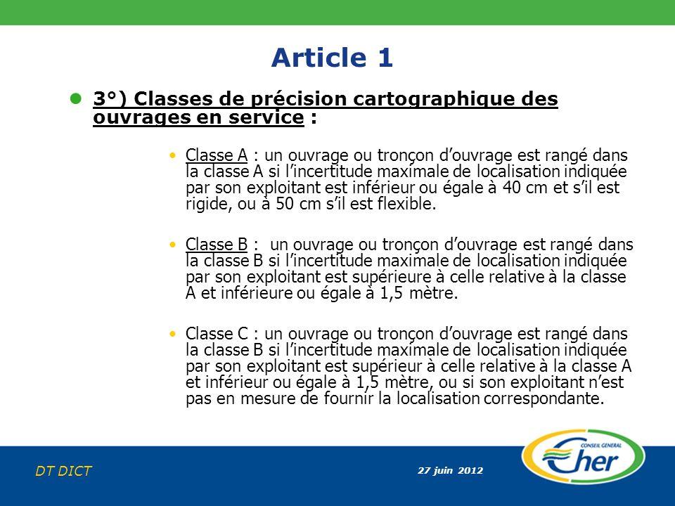 27 juin 2012 DT DICT Article 1 3°) Classes de précision cartographique des ouvrages en service : Classe A : un ouvrage ou tronçon douvrage est rangé d